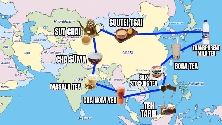"""Carte de """"l'alliance pan-asiatique du thé au lait"""", créée par des internautes en réponse aux accusations de la Chine contre l'Australie : soit les foyers résistance au """"sous-impérialisme"""" du Parti communiste chinois : Japon, Taïwan, Thaïlande, Inde et Mongolie, mais aussi Ouïghours et Tibétains."""