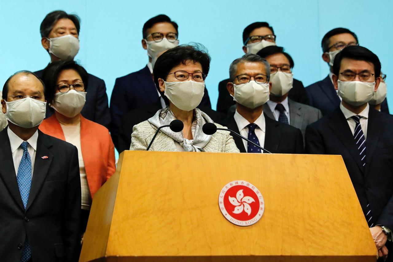 La cheffe de l'éxécutif de Hong Kong, Carrie Lam, lors d'une conférence de presse sur le nouveau projet de loi sur la sécurité naitonale annoncé par le gouvernement de Pékin, le 22 mai 2020. (Source : Reuters)