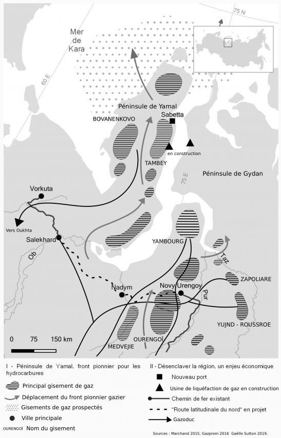 Carte de la péninsule de Yamal, front pionnier pour les hydrocarbures. (Sources : Marchand 2015, Gazprom 2016 / Réalisation : Gaëlle Sutton 2019)