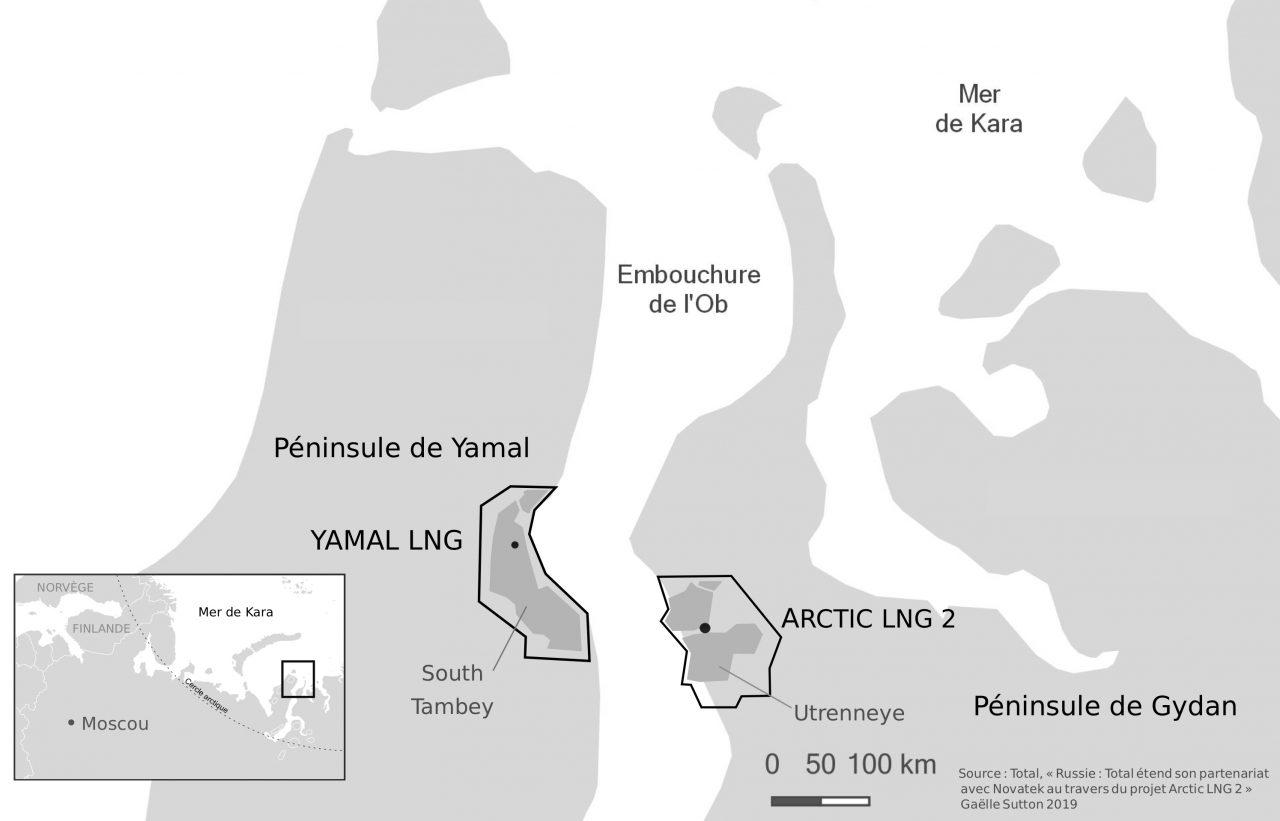 """Carte des deux projets de gaz naturel liquide dans l'Arctique russe, auxquels participent des entreprises chinoises. (Sources : Total, """"Russie : Total étend son partenariat avec Novatek au travers du projet Arctic LNG 2"""" / Réalisation : Gaëlle Sutton 2019)"""