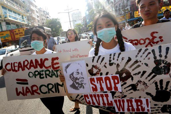 Manifestants d'étudiants pour la pays dans l'État birman Kachin, à Rangoun le 6 mai 2020. (Source : Asian Nikkei)