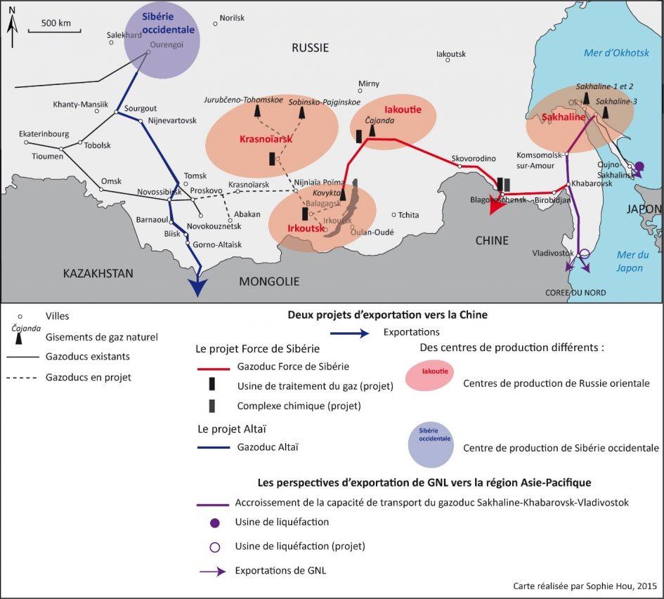 Carte des gazoducs russes d'exportation vers la Chine. (Crédit : Sophie Hou)