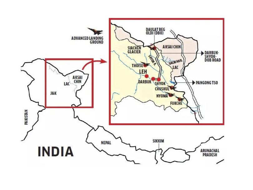 """Carte des tensions frontalières entre l'Inde et la Chine le long de la """"Ligne actuelle de contrôle"""" (LAC) qui sépare les territoires de l'Aksai Chin et du Jammu-et-Cachemire. (Crédit : DR)"""
