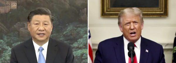Le président chinois Xi Jinping et son homologue américain Donald Trump dans leur discours enregistrés et diffusés lors de l'assemblée générale de l'Organisation des Nations Unies (ONU), le 22 septembre 2020. (Source : Asia Nikkei)
