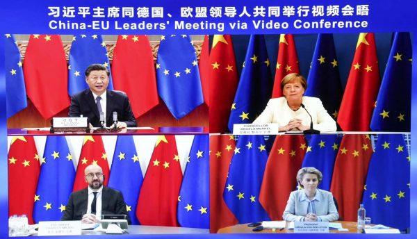 Le président chinois Xi Jinping, la chancelière allemande Angela Merkel, le président du Conseil européen Charles Michel et la présidente de la Commission européenne Ursula von der Leyen lors du sommet Chine-Europe par visioconférence, le lundi 14 septembre 2020. (Source : Teller Report)