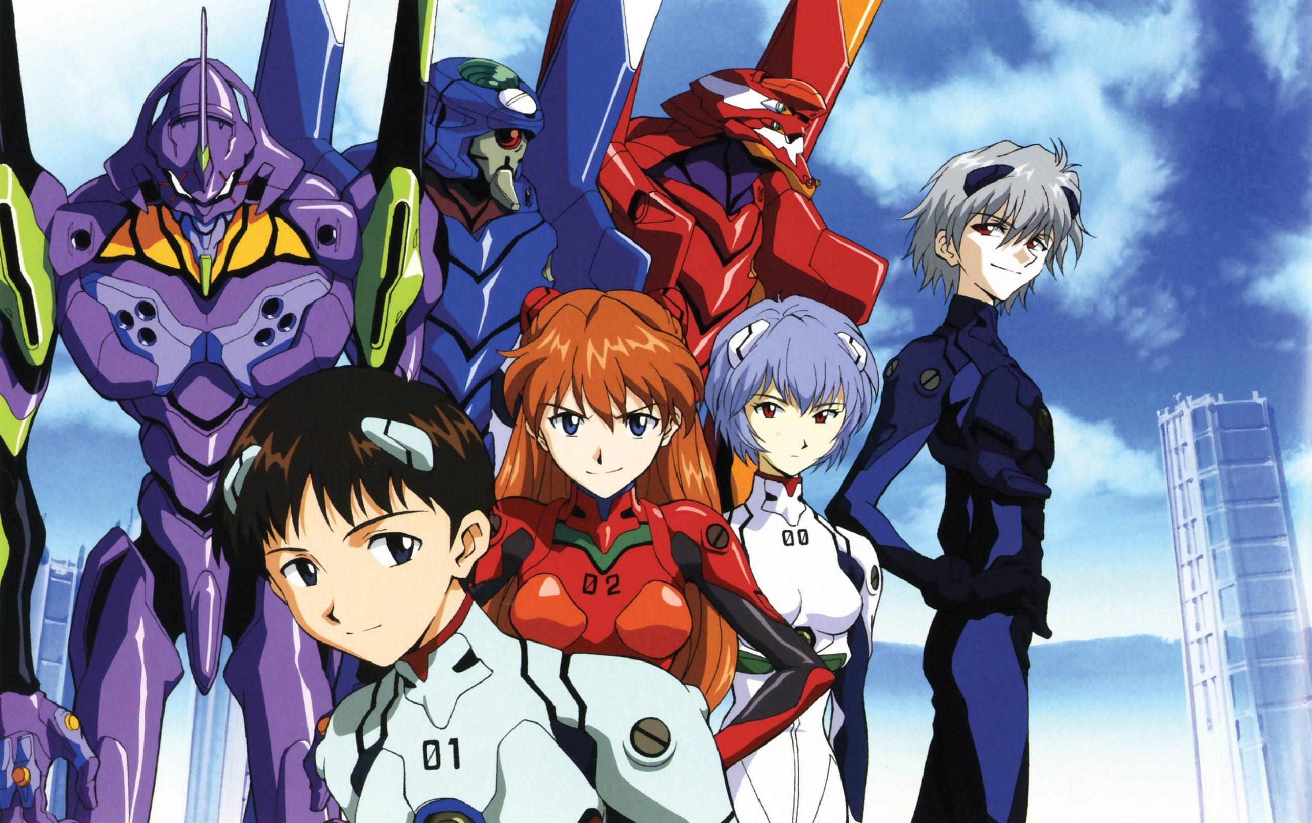 """Les """"Evangelion"""" et leurs pilotes dans la série d'animation """"Neon Genesis Evangelion"""" Hideaki Anno. (Source : Wallpaperup)"""