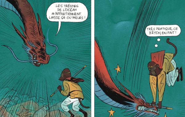 """Extrait de la bande dessinée """"Les aventures du Roi Singe, tome 1 : Les Immortels"""", scénario Stéphane Melchior, dessin Vincent Sorel, Gallimard. (Copyright : Gallimard)"""