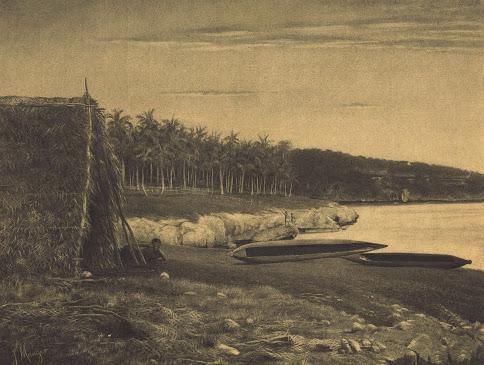 """""""Baie du Santal à Lifou, Iles Loyalty"""" (d'après Dufty?), dessin au fusain, vers 1878, Jean Mauger. (Source :Musée de Nouvelle-Calédonie)"""