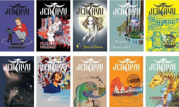 Couvertures de Jentayu, la revue littéraire d'Asie. (Crédit : Twitter / @EditionsJentayu)