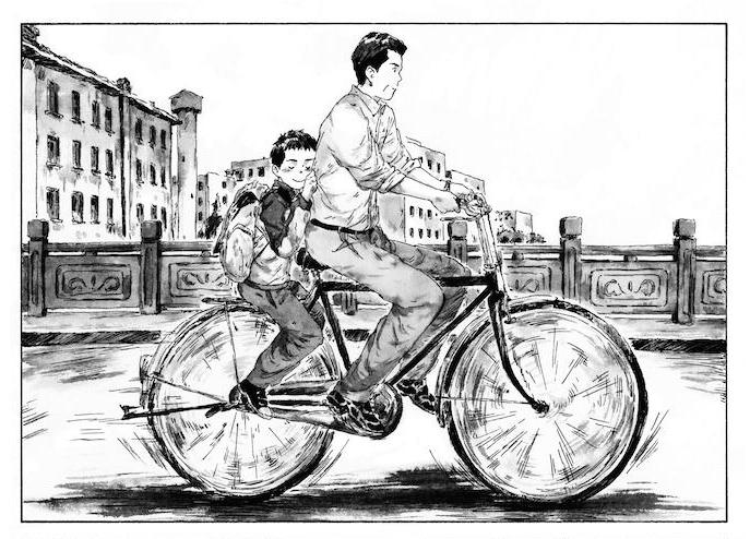 "Extrait de la bande dessinée de ""L'enfant ébranlé', scénario et dessin Tang Xiao, Kana. (Copyright : 2020 - Tang Xiao - Kana (Dargaud-Lombard s.a.)"