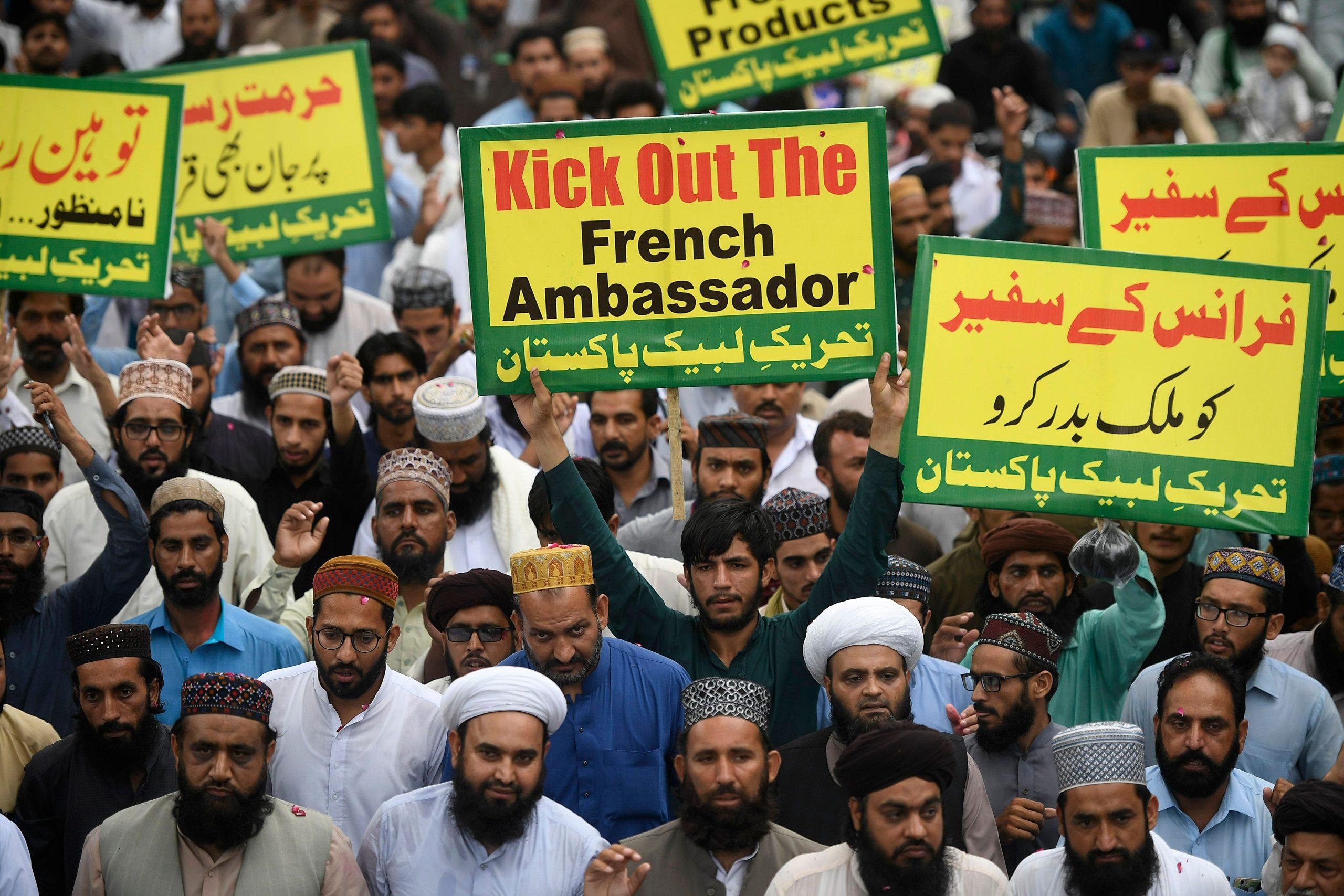 Manifestation organisée par la formation islamiste Tehreek-i-Labbaik Pakistan (TLP), demandant l'expulsion de l'ambassadeur de France au Pakisyan, à Lahore, le 17 novembre 2020. (Source : Eastern Eye)