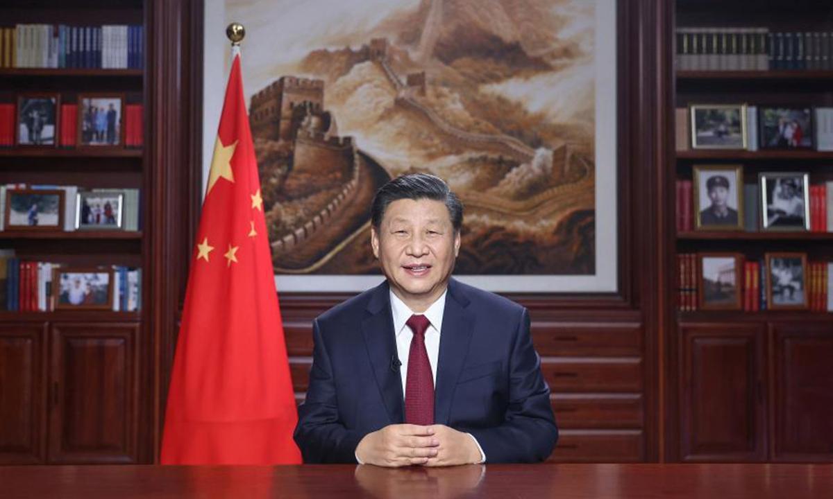 Le président chinois Xi Jinping lors de son allocution de Nouvel an le 31 décembre 2021. (Source : Global Times)