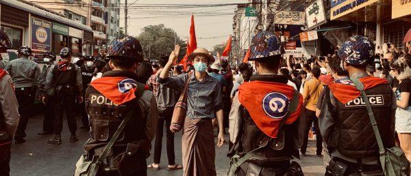Manifestations contre le coup d'État militaire à Rangoun, le 6 février 2021. (Copyright : Jone)