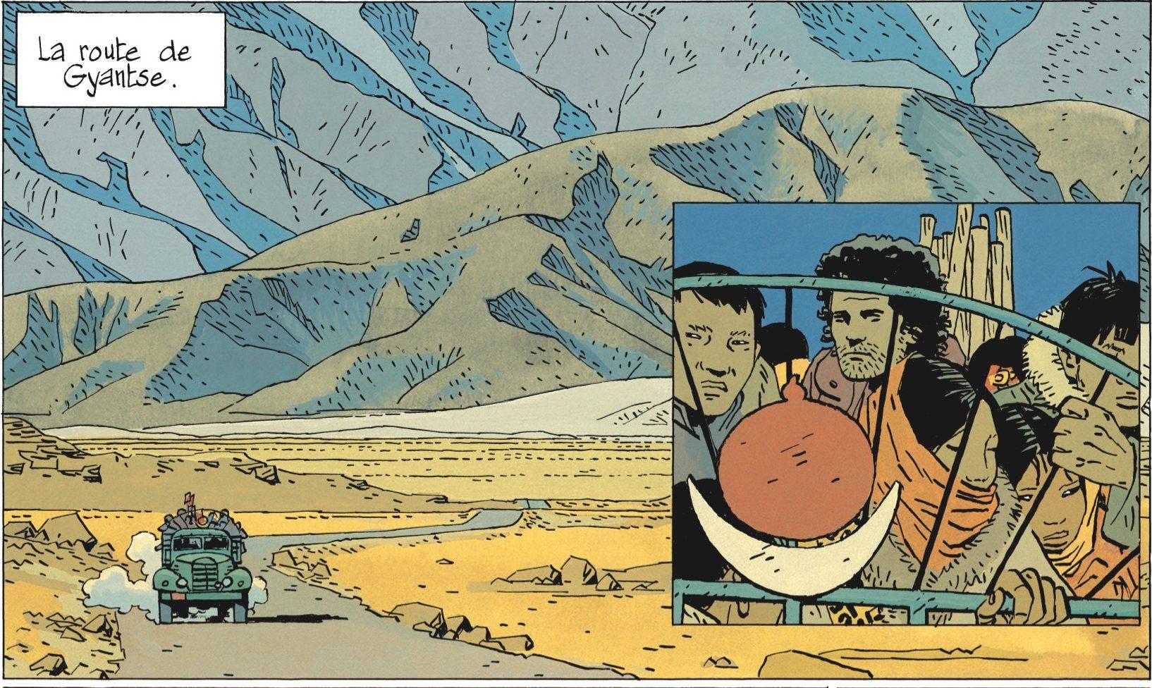 """Au Tibet, dans """"Celui qui mène les fleuves à la mer"""" par Cosey, éditions Le Lombard. (Crédit : Le Lombard)"""
