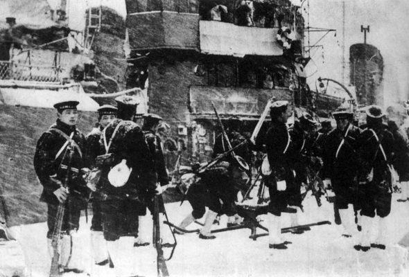 Marines japonais déployés dans Tokyo lors du coup d'État manqué du 26 février 1936. (Source : Military Wikia)