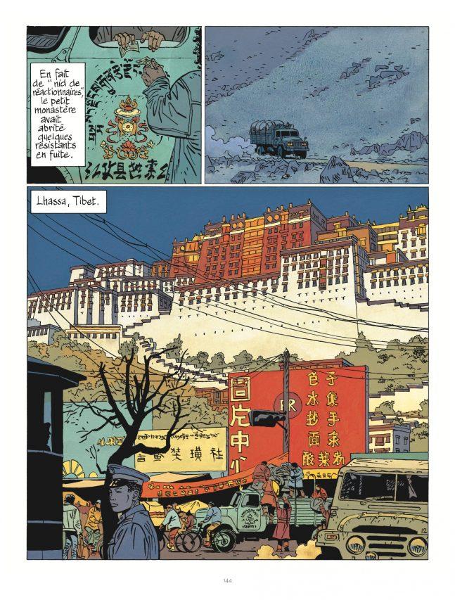 """Au Tibet dans """"Celui qui mène les fleuves à la mer"""" par Cosey, éditions Le Lombard. (Crédit : Le Lombard)"""