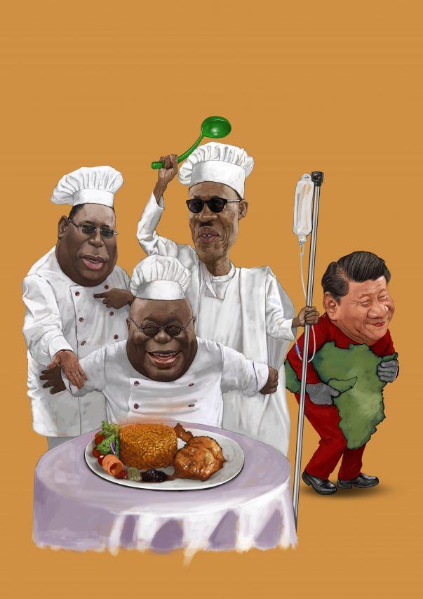 """Caricature de Bright Ackwerh, affichée lors de l'exposition """"Infamous in China"""" à Accra, au Ghana, les 27 et 28 janvier 2021. (Copyright : Bright Ackwerh)"""
