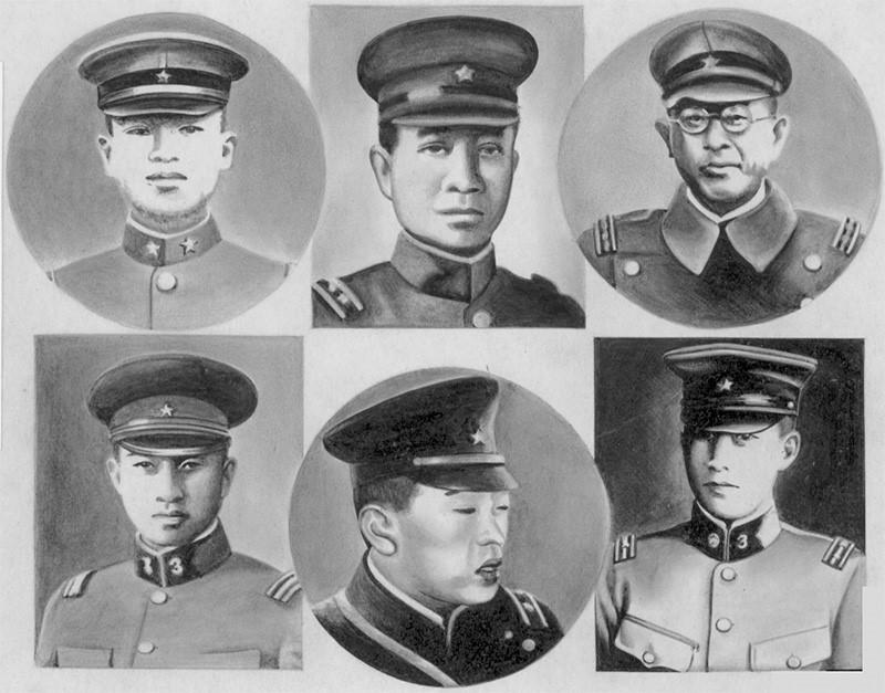 """Six officiers mutins fusillés après le coup d'État manqué de """"Niniroku"""" le 26 février 1936. (Source : Sohu)"""