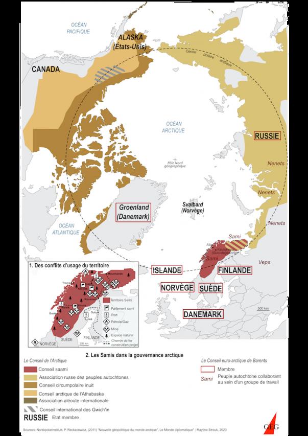 Les Saamis dans la gouvernance arctique. (Sources : Norskpolarinstitut, Le Monde diplomatique. Réalisation : Mayline Strouk, Groupe d'Etudes Géopolitiques Nordiques.)