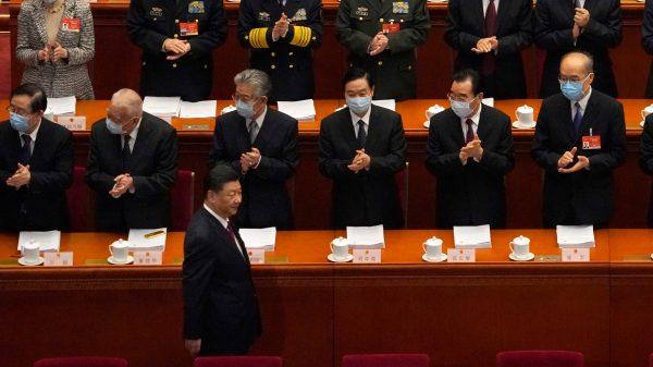 Le président chinois Xi Jinping lors de l'ouverture de la session annuelle de l'Assemblée nationale populaire au Grand Hall du Peuple à Pékin, le 5 mars 2021. (Source : Asian Nikkei)
