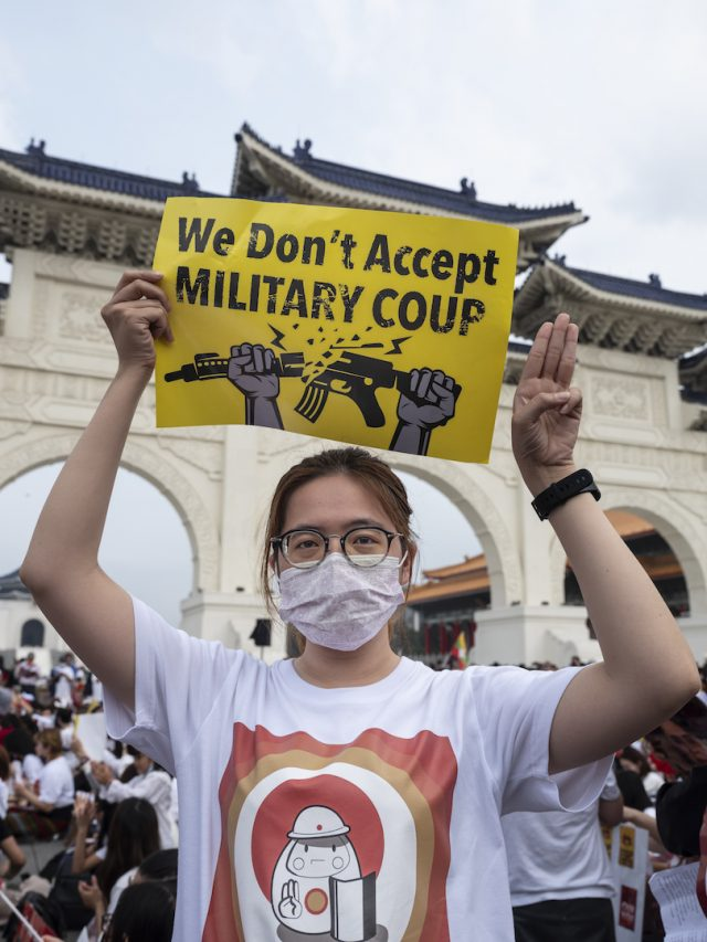 Rassemblement en soutien aux manifestants birmans pro-démocratie et contre le coup d'État militaire du 1er février 2021, à Taipei le 28 mars 2021. (Copyright : Naomi Goddard)