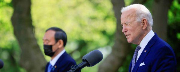 Le président américain Joe Biden lors de sa conférence de presse conjointe avec le Premier ministre japonais Yoshihide Suga, à la Maison Blanche le 16 avril 2021. (Source : Japan Times)