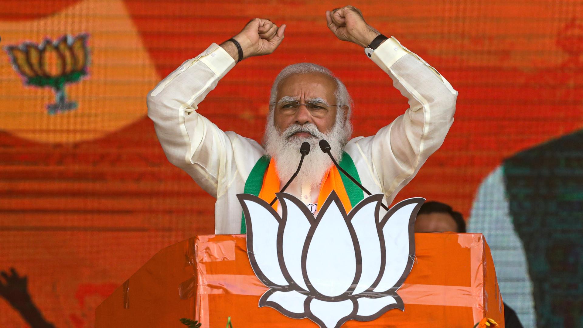 Le Premier ministre indien Narendra Modi lors d'un meeting électoral à Calcutta, le 7 mars 2021. (Source : WOWKTV)
