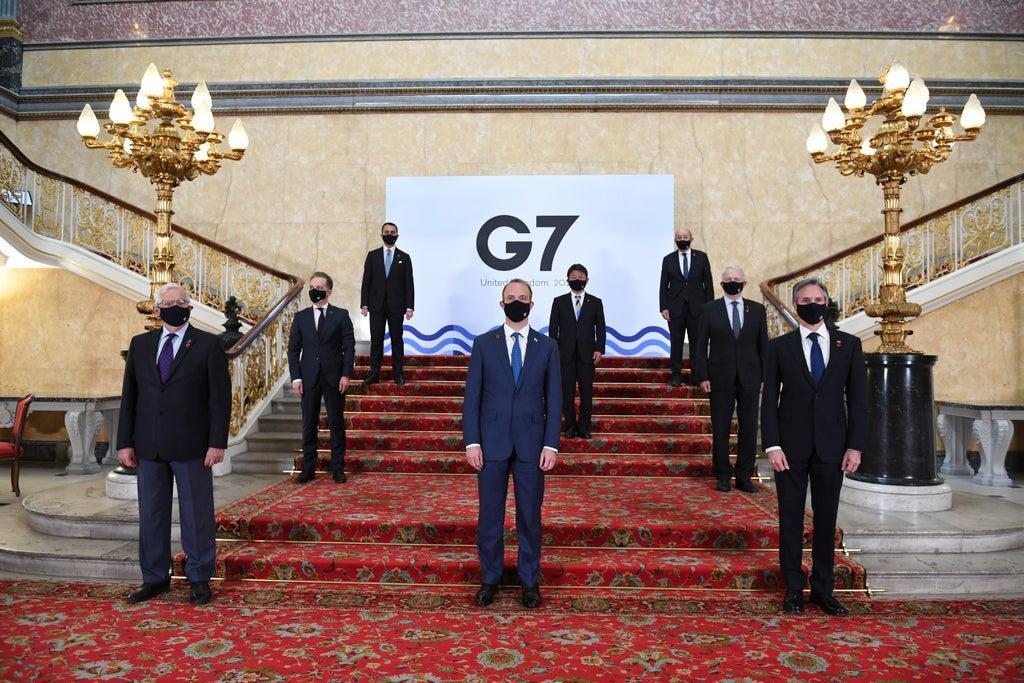 Les ministres des Affaires étrangères du G7 à Londres, le 5 mai 2021. (Source : Yahoo News)
