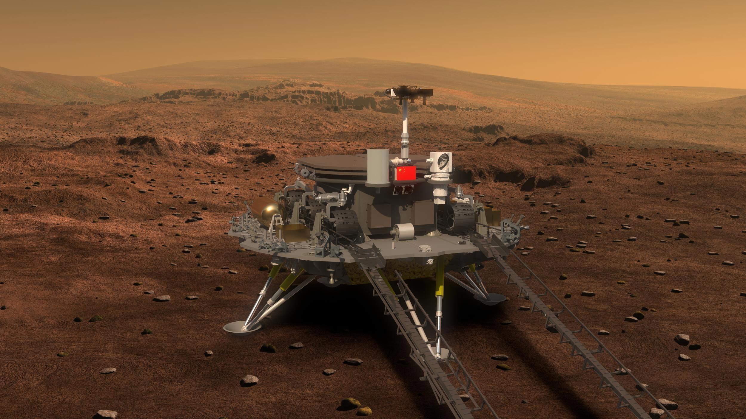 Le robot chinois Zhu Rong s'est posé sur Mars le 15 mai 2021. (Source : Scitechdaily)