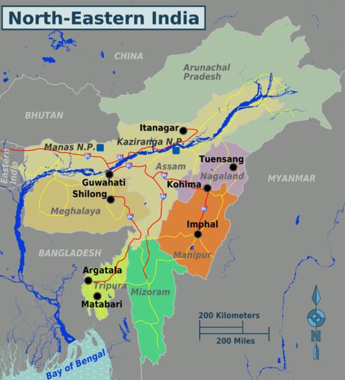 Carte de la région du Bengale au nord-est de l'Inde. (Source : Wikitravel)