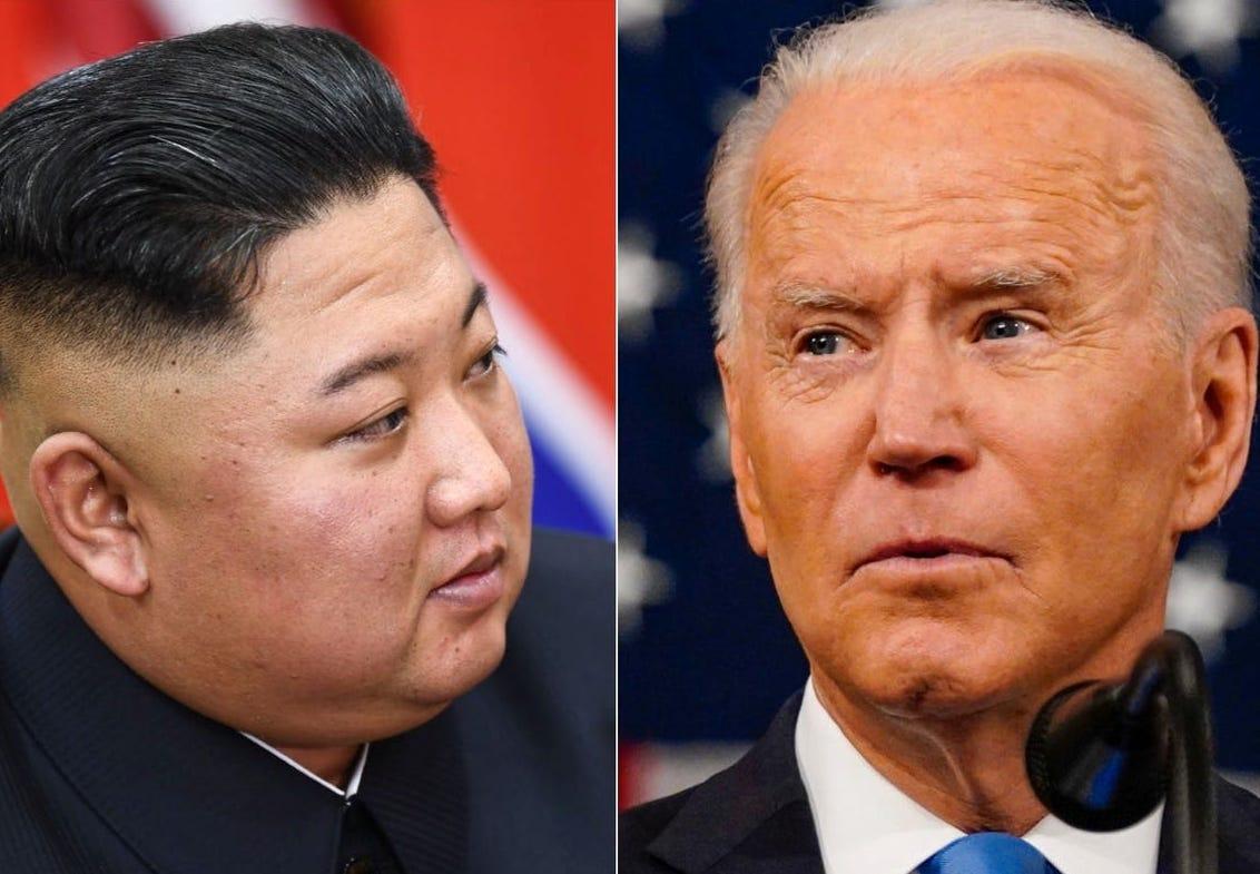 Le dirigeant nord-coréen Kim Jong-un et le président américain Joe Biden. (Source : Business Insider)