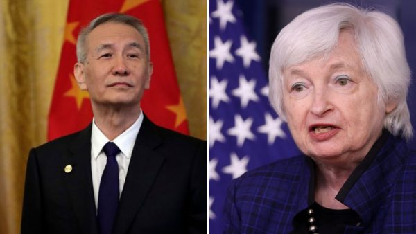 Le vice-permier ministre chinois Liu He et la secrétaire américaine au Trésor Janet Yellen. (Source : Tintuc)