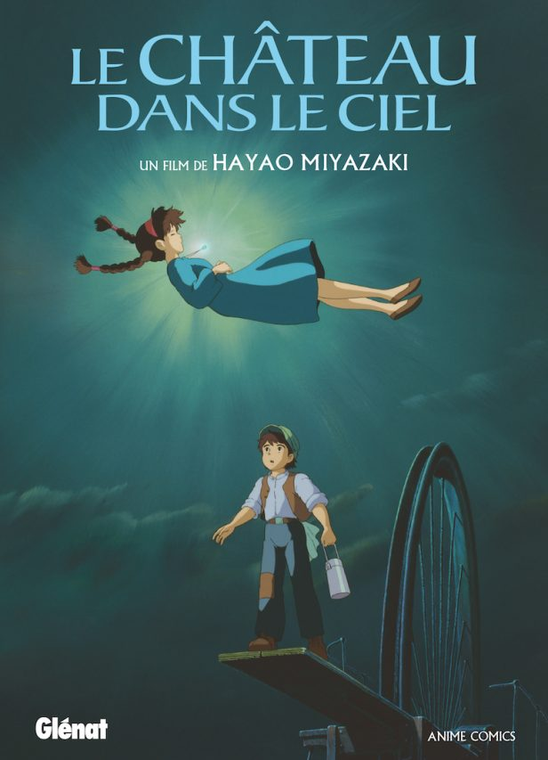 """Couverture de la bande dessinée """"Le château dans le ciel"""" (anime comics), scénario et dessin Hayao Miyazaki, Glénat Manga. (Copyright : Glénat)"""