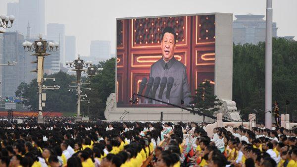 Le président chinois Xi Jinping sur écran géant lors des célébrations du centenaire du parti communiste chinois place Tiananmen, le 1er juillet 2021. (Source : Kivazen)
