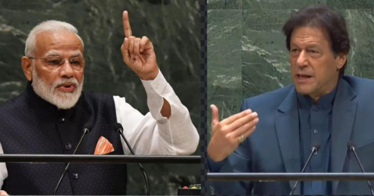 Le Premier ministre indien narendra Modi et son homologue pakistanais Imran Khan à la tribune de l'Assemblée générale des Nations Unies, respectivement les 25 et le 24 septembre 2021. (Source : Scroll.in)