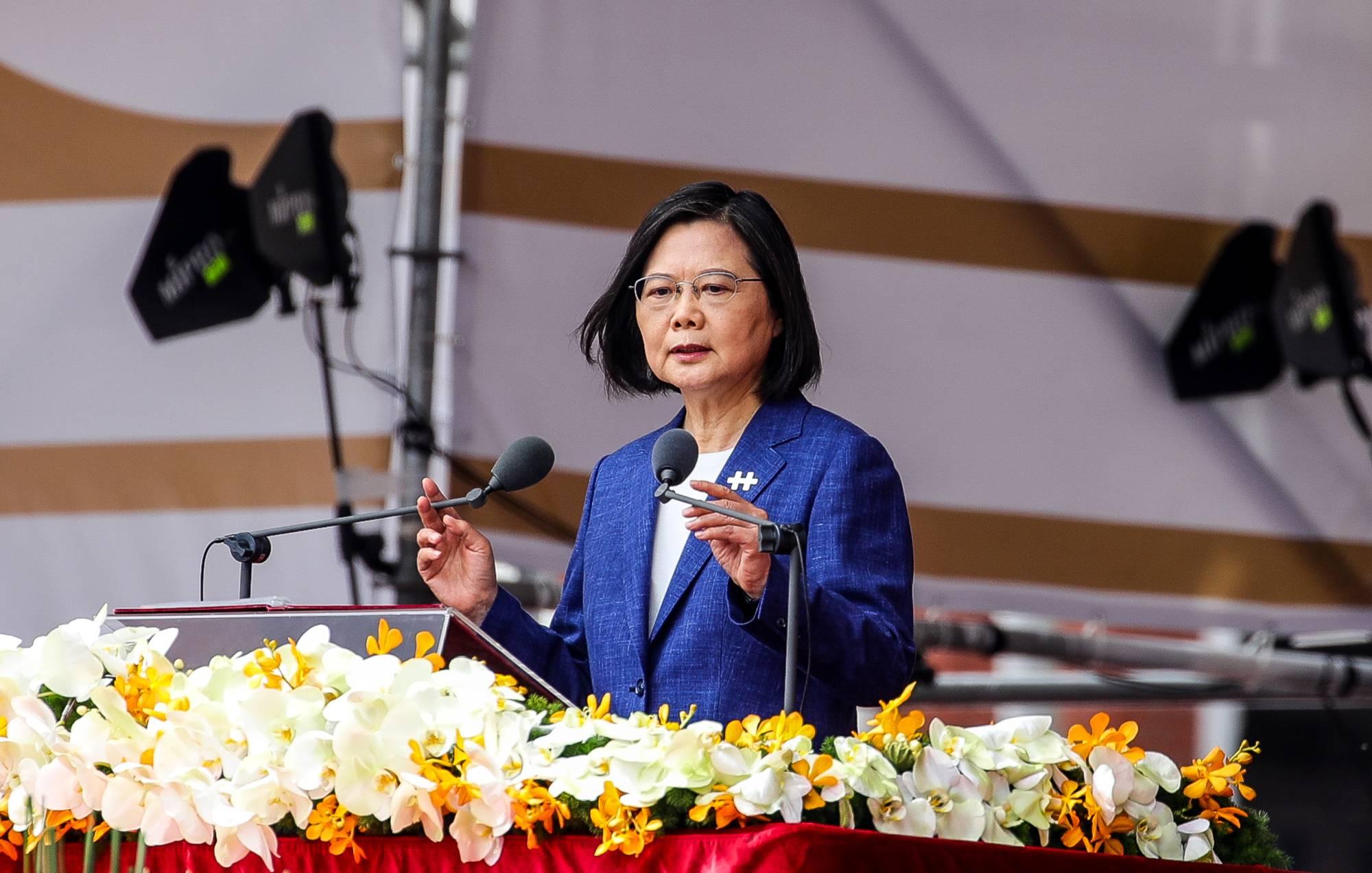 La présidente taïwanaise Tsai Ing-wen lors des célébrations de la fête nationale à Taipei, le 10 octobre 2021. (Source : NewsContinue)